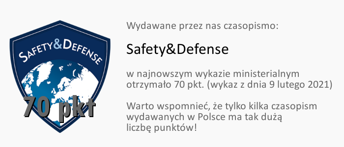 Czasopismo Safety&Defense ma 70 pkt